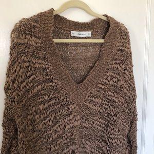 Zara oversized sweater unique knit texture size M